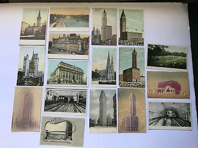 Lot of (17) Vintage Pre-1920 New York City Postcards (Some Posted)
