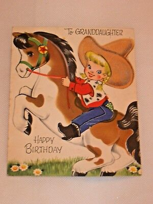 Vintage Art Guild Child's Cowgirl Cowboy & Horse Birthday Greeting Card 1950s