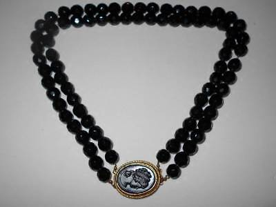 Classic Vtg Faceted Black Glass Bead & Cameo Clasp Multi Strand Estate Necklace