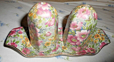 Lord Nelson Chintz Briar Rose Pattern Salt Pepper & Display Tray Nelson Ware