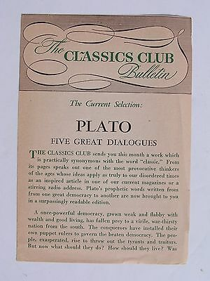 The Classics Club Bulletin - Plato: Five Great Dialogues