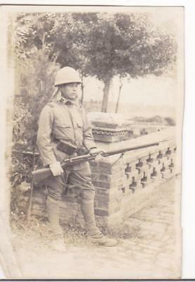 WWII Photo Imperial Japanese Army Soldier Rifle Helmet China pre-1939 Photo