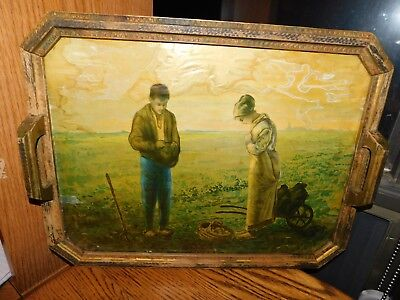 Antique Angelus Lithograph Wood Tray w/ Glass Front TLC