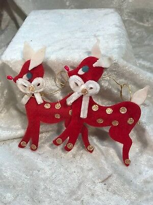 Vintage Felt Flocked Reindeer Christmas Ornaments/ Japan
