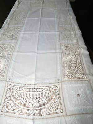 Vintage ITALIAN Linen Hand Embroidered Filet Net Lace TABLECLOTH 61x86