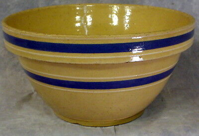 Antique Early 1900's Yellow Ware Stoneware Crock Bowl  With Blue Strip Band #9