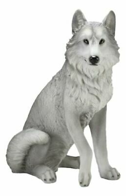 "Realistic Large Dakota Wildlife Sitting Alpha Gray Wolf Statue Decor 20.5""H"