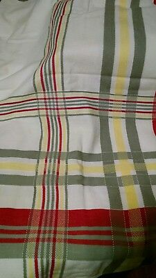 """VINTAGE TABLECLOTH COTTON RED GRAY YELLOW WHITE STRIPED CHECKED  48"""" x 64"""""""