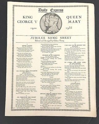 Antique King George V Queen Mary JUBILEE SONG SHEET Gibson Young DAILY EXPRESS