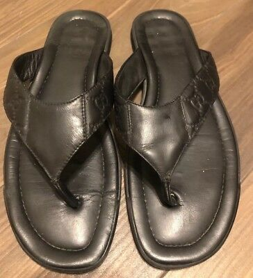 cf84a03e5 GUCCI mens black GUCCISSIMA Leather BEACH flip-flops Thong sandals Size 10  1 2g