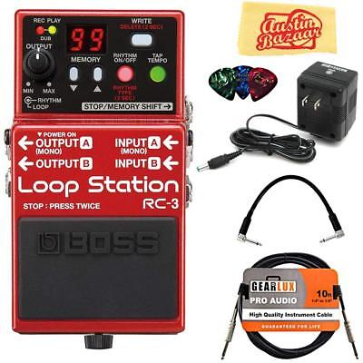 Boss RC-3 Loop Station Bundle with Power Supply, Instrument Cable, Patch...