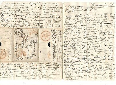 1850 Stampless Folded Letter From England, Ref:  Happy New Year