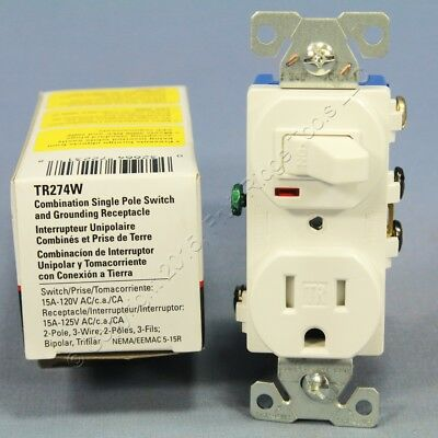 Cooper White TAMPER RESISTANT Toggle Light Switch Outlet Receptacle 15A TR274W