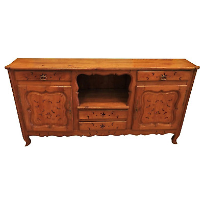 Antique French Country Inlaid Pear Wood Sideboard Buffet
