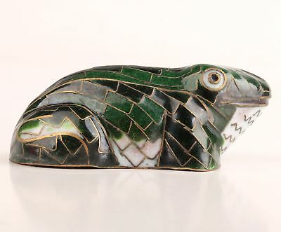 Cloisonne Hand-Carved Frog Statue Old Collection Chinese Gift