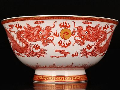 Chinese Porcelain Large Bowl Dragon Painting Qianlong Style Collectible Gift