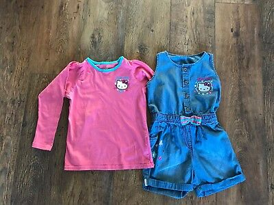 Hello Kitty Playsuit & long sleeved top M&S age 6-7