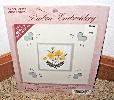 "Janlynn Ribbon Embroidery~""buttercups"" Kit~ #21-12~W/2 Bevel Cut Mats 6X6~Nip"