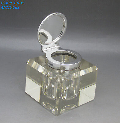 Antique Superb Solid Sterling Silver Mounted Cut Glass Inkwell, 5.7Cm, Lon 1893