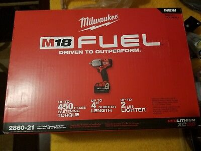 Milwaukee 2860-21 M18 5.0ah FUEL 1/2' Mid-Torque Impact Wrench w/Pin Detent Kit