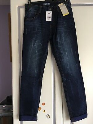 Boys Next Skinny Jeans Age 14 Tapered Ankle - Dark Blue - New £18