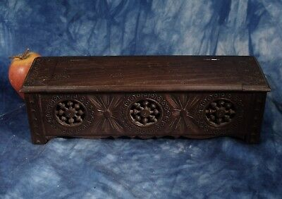 Vintage  Celtic Carved wood  Miniature coffer chest