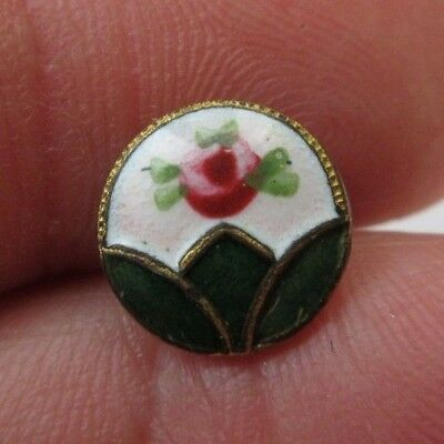 Sweet Small Antique French Champleve ENAMEL BUTTON Pine Green w/ Pink Rose (F27)