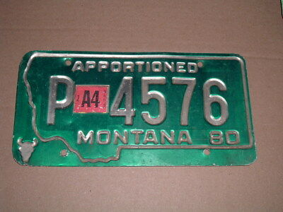1980 Montana License Plate Tag P 4576 Apportioned