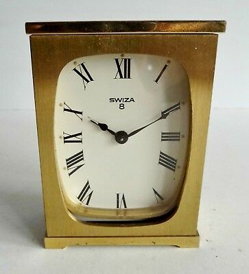 Rare Old Swiza Brass Cased 8-Day Clock - Swiss Made - Spares Or Repairs