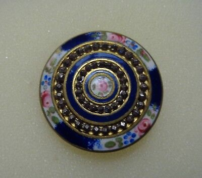"Antique VICTORIAN BRASS and ENAMEL ROSES  COLORFUL Large 1 3/8"" button"