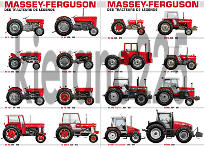 A3 Massey Ferguson Collection Tractor Agriculture Poster Picture Art Print