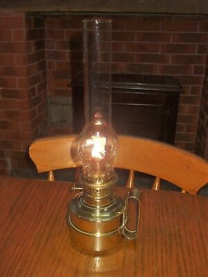 Vintage French Brass Oil Lamp Wall Hanging Table Top Large Glass Chimney Stamped