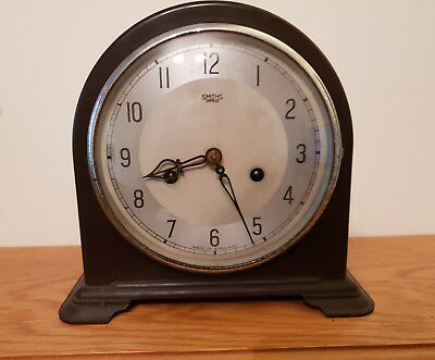 Smiths Enfield Antique/Vintage Bakelite Pendulum & key Mantel Clock for Repair