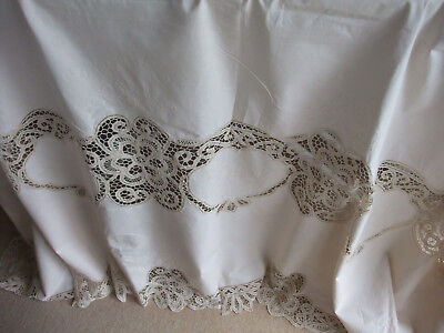 Large Table Cloth and 12 Matching Napkins with Crochet & Embroidery Detail