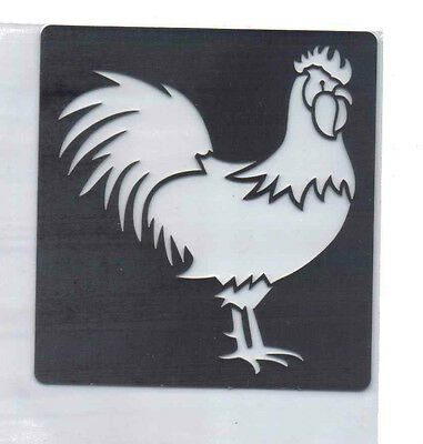 Stainless/Steel/stencil/Oblong/Rooster/Cockerel/Chicken/Emboss/Small