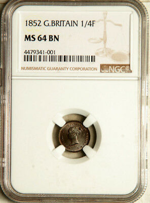 Ngc Ms-64 Great Britain 1/4 Farthing 1852 (Only One Graded Higher) Pop: 9/1