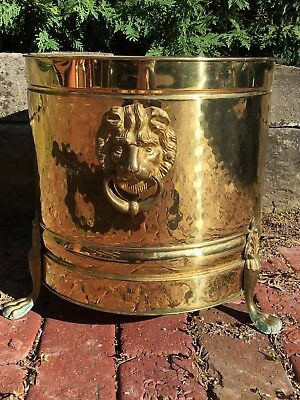 EXTRA LARGE Lion Head VintageBristol BRASS Flower Floor Planter POT TubUSA