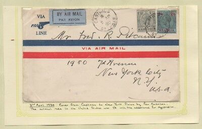 St. Lucia 1930 CASTRIES Air Mail by PAN AMERICAN to New York U.S.A. Incl 2s/6d