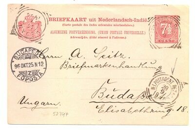 Dutch Indies Ned Indie 1896 . Ps Card = N.i.postagent Penang - To Hungary F/vf