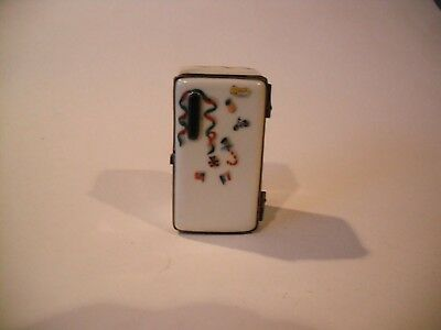 Peint Main Limoges Trinket-Old Fashioned Refrigerator With Removable Drawer