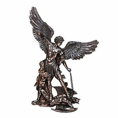 """Large 14/""""H Michael The Archangel Bronze Look Statue Saint by Pacific Trading"""