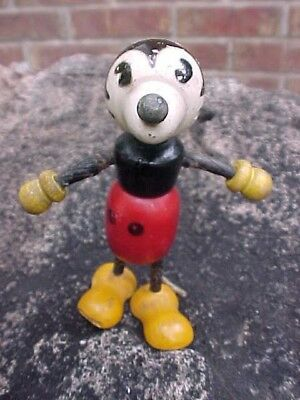 1930's Wooden Fun-E-Flex Mickey Mouse Figure For Parts Or Repair