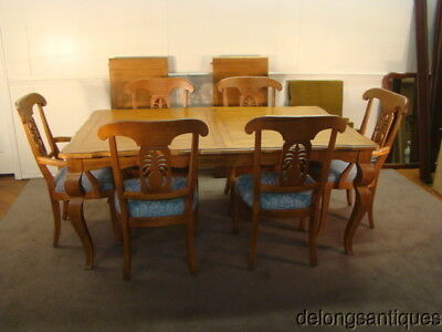 50897:Ethan Allen Solid Maple Country French Dining Table & 6 Chairs