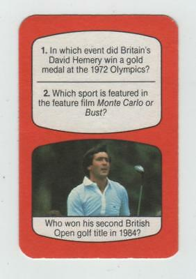 Unusual Seve Ballesteros Golf Card From Tv Times Sport Quiz Game