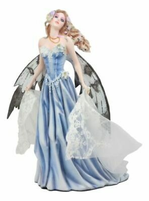 Last Light Ethereal Bridal Fairy Statue With Embroidered Sheer Fabric Decor Art