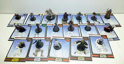 18 seltene Star Wars Miniatures Figuren Leia Luke Skywalker Obi Wan Karten