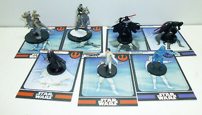 7 seltene Star Wars Miniatures Figuren Leia Luke Skywalker Obi Wan Karten