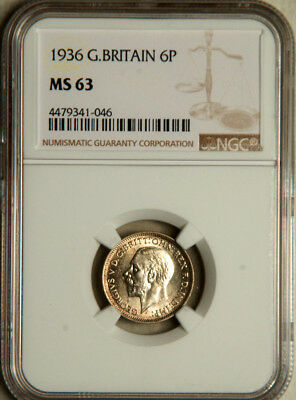 Ngc Ms-63 Great Britain Silver Sixpence 6 Pence 1936