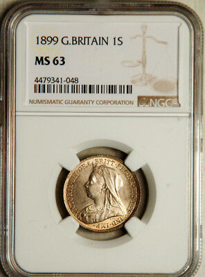 Ngc Ms-63 Great Britain Silver 1 Shilling 1899