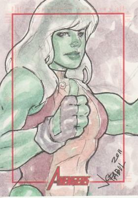 Marvels Greatest Heroes 2012 Color Sketch Card by Fabul - She Hulk